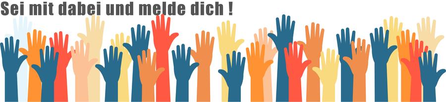 Externer Link: Das Bild zeigt viele bunte Hände, die sich melden
