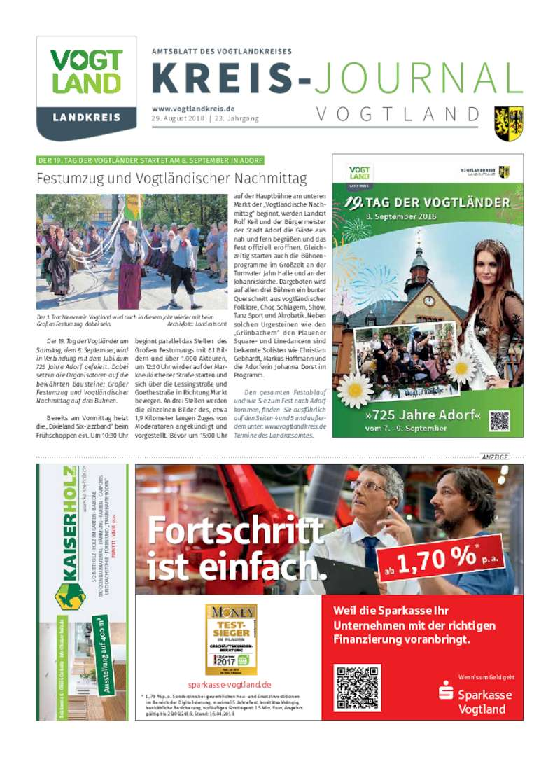 Dokument anzeigen: Kreis-Journal Vogtland August 2018