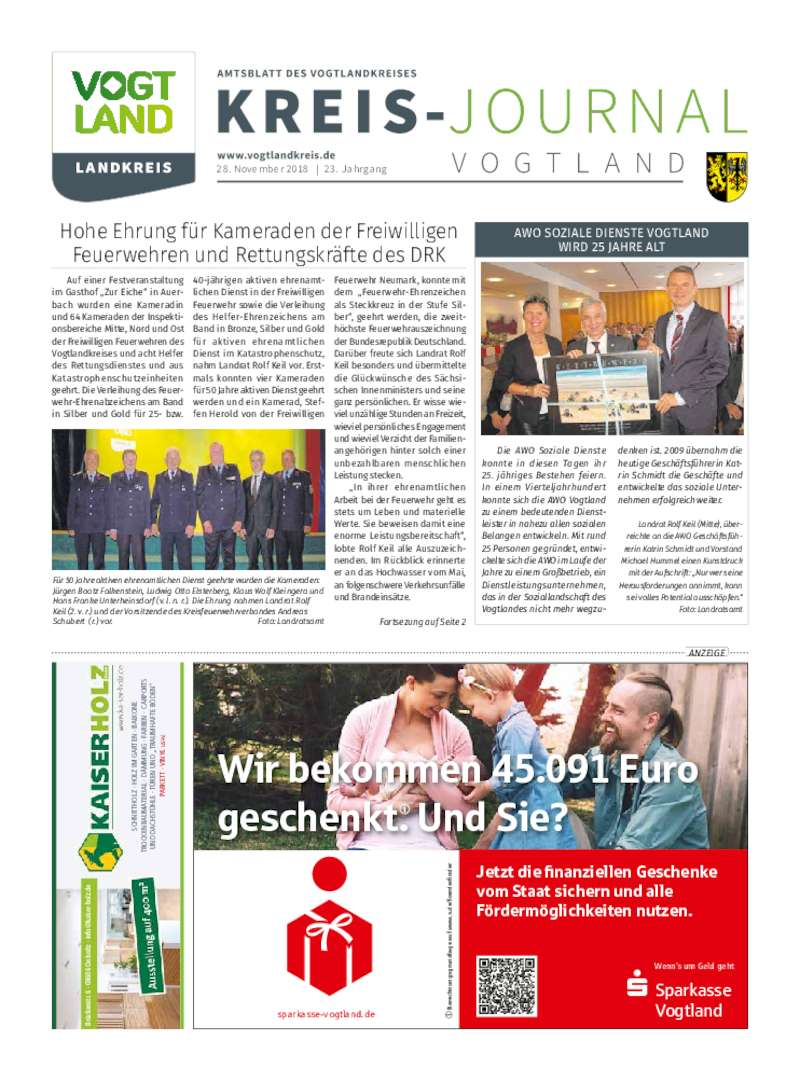Dokument anzeigen: Kreis-Journal Vogtland November 2018